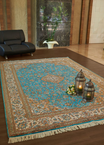 Silk rug for living and dining room