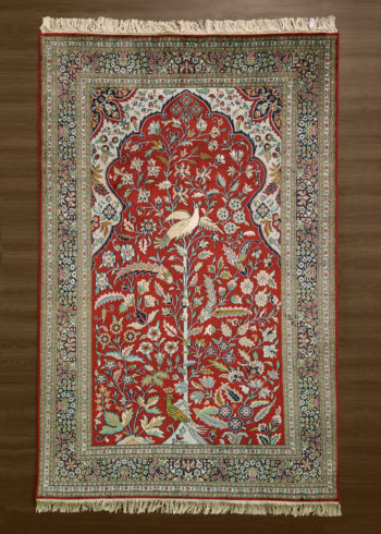 Pictorial rug: Hibiscus Tree-of-Life