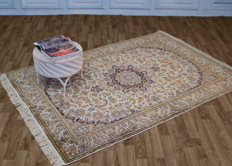 Pure silk oriental carpet for coffee table