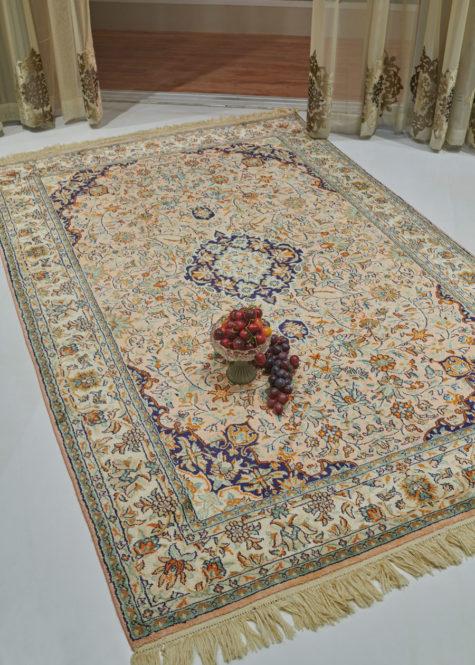 Oriental silk coffee table rug