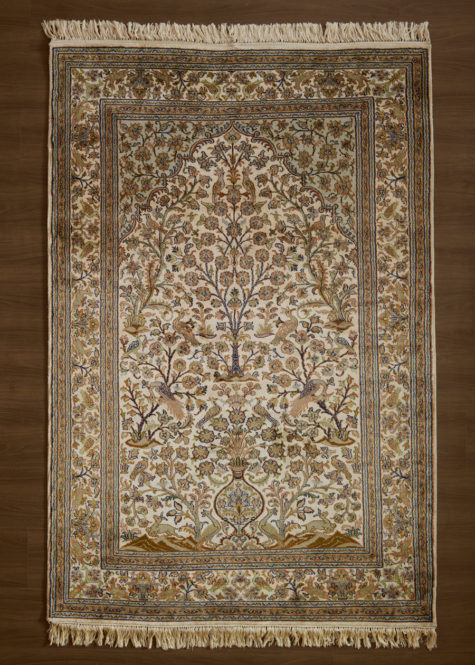 Pearled White Tree-of-Life | Carpets of Kashmir