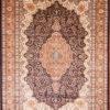 Handmade oriental dining room wool silk rug