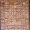 Handmade wool silk dining room rug