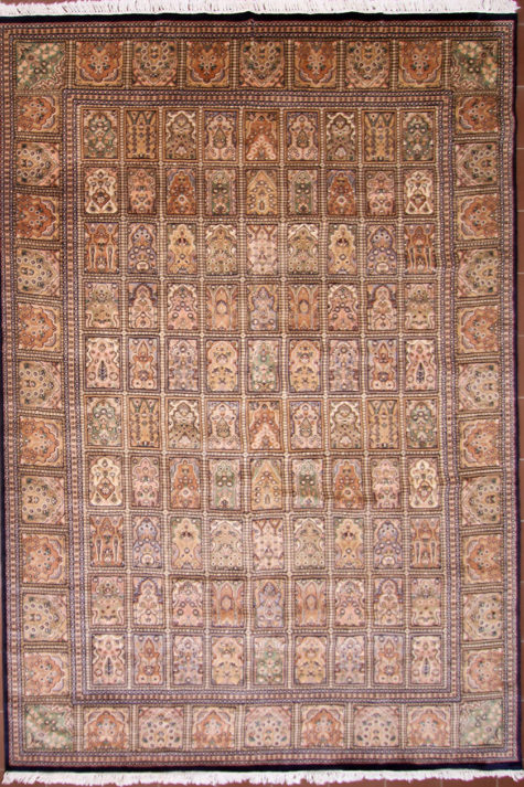 Handmade wool silk dining room rug