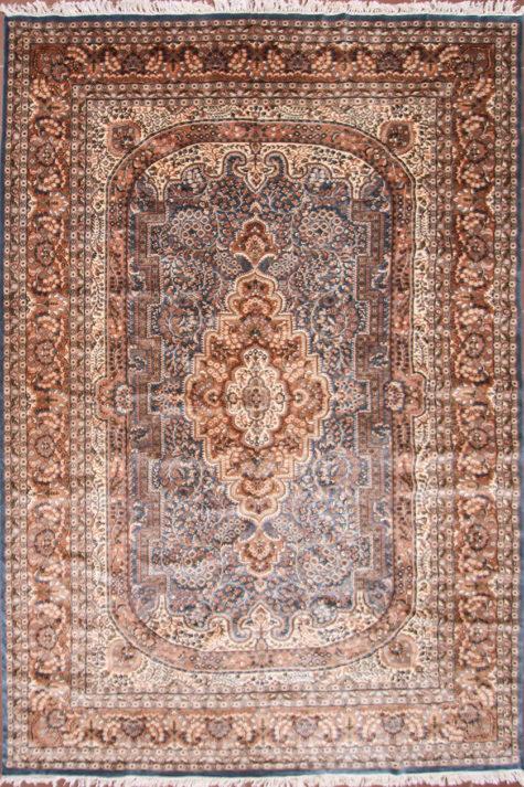 Handmade wool silk living room rug