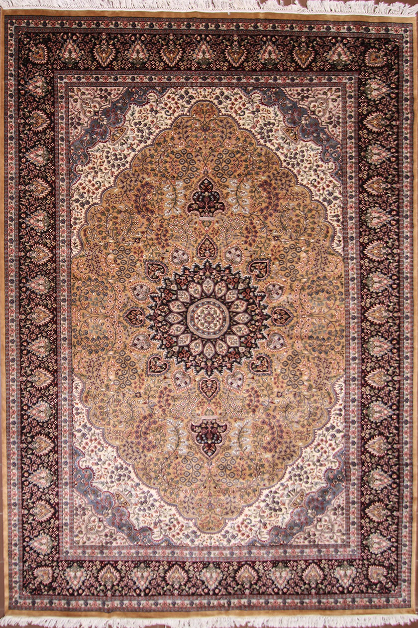 Large living room wool silk rug size 12 by 9 from kashmir - Huge living room rugs ...