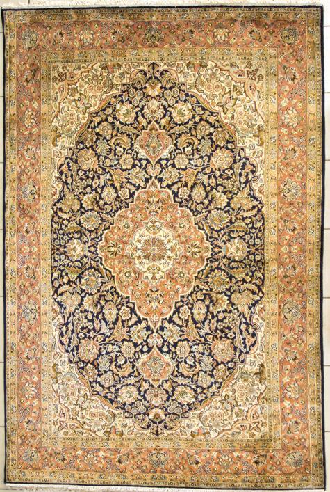 Pure silk coffee table handmade rug