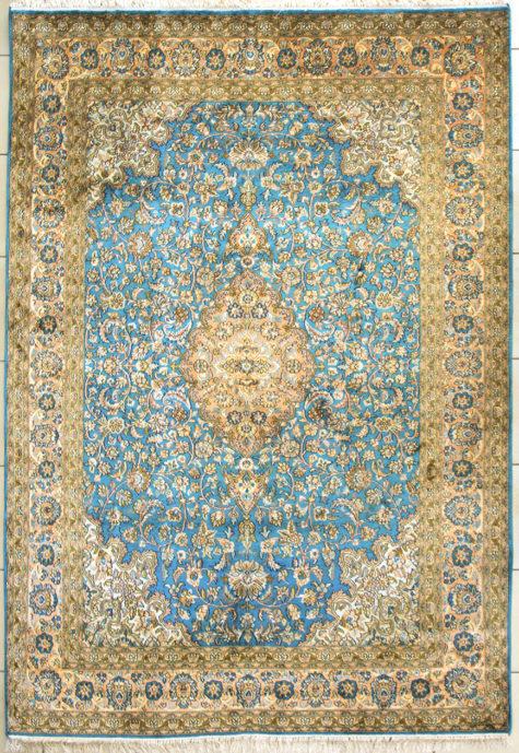 Handmade pure silk coffee table rug