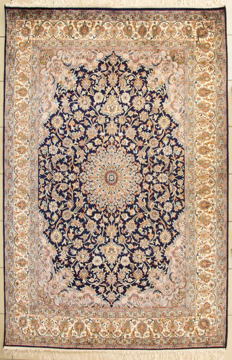 Hand knotted pure silk coffee table rug