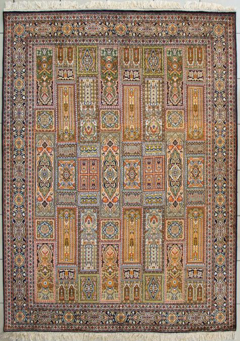 Geometric design pure silk carpet