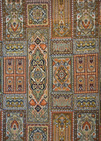 Geometric design pure silk carpet size 7 by 5