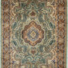 Floral design wool silk coffee table rug size 6 by 4
