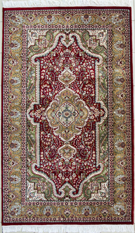 Red wool silk coffee table rug with Floral design size 6 by 4