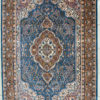 Blue wool silk coffee table rug