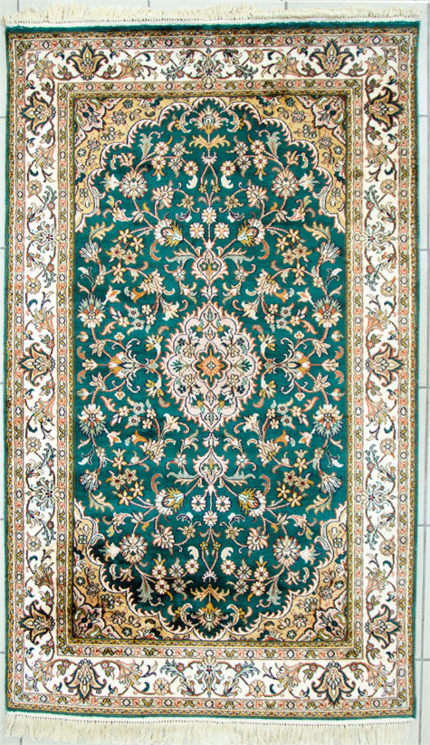 Floral design pure silk bedroom rug size 5 by 3 handmade and hand knotted