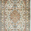 pure silk handmade floral design bedroom rug