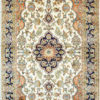 Pure silk rug for foyer with floral design size 5 by 3 handmade