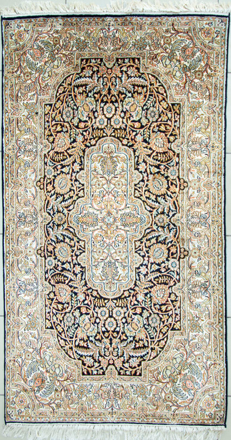 Floral design pure silk foyer rug size 5 by 3 handmade hand knotted