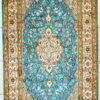 Oriental floral design pure silk foyer rug size 5 by 3 handmade hand knotted