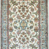 5 by 3 pure silk bedroom rug with floral design handmade and hand knotted
