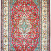 Red pure silk bedroom carpet with floral design handmade and hand knotted