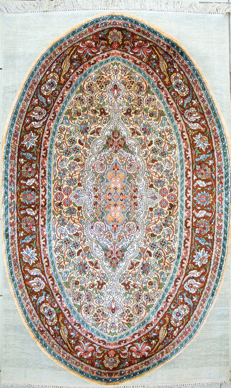 Persian oriental design pure silk bedroom carpet handmade and hand knotted