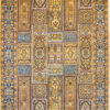 Geometric design pure silk bedroom rug handmade and hand knotted