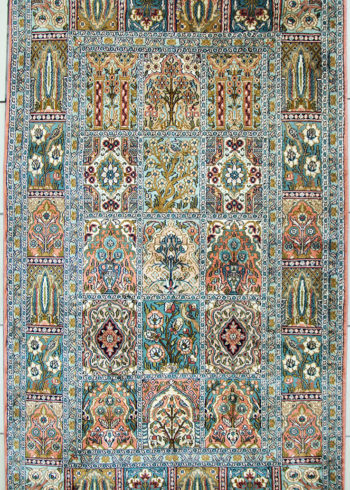 geometric design pure silk bedroom carpet