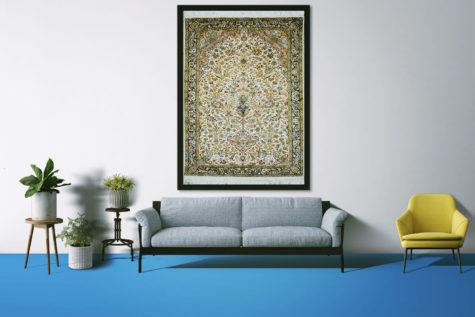 Unique wall hanging: Flower vase design oriental handmade carpet