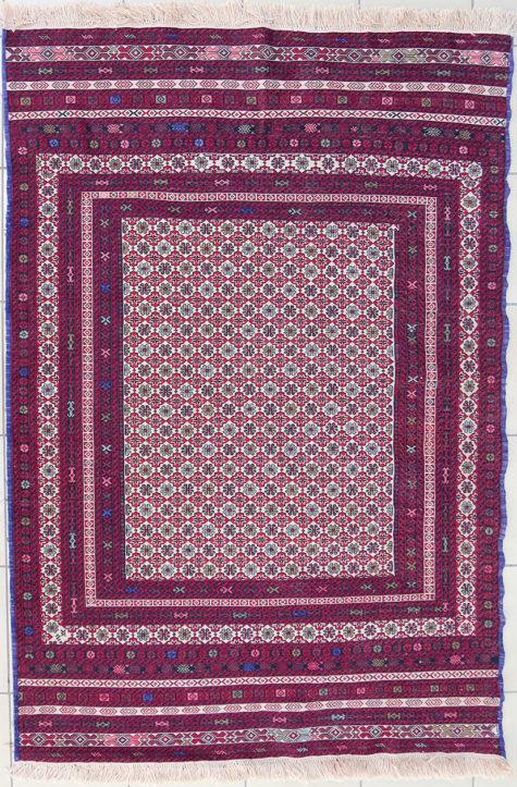 Hand spun geometric pure wool afghan bedroom carpet with geometric design