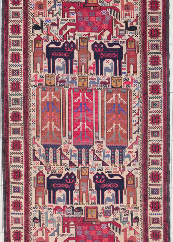 Pictorial wall hanging design handmade rug of pure wool - Afghan Design