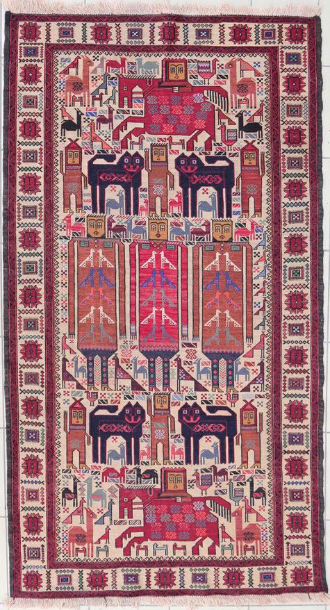 Pictorial wall hanging design handmade rug of pure wool - Afghan Design