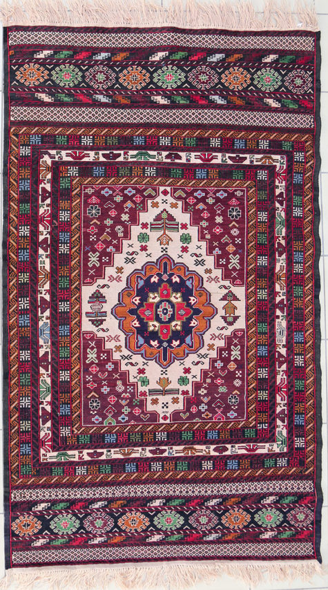 Multi-color handmade pure wool rug for bedroom with Afghan geometric design
