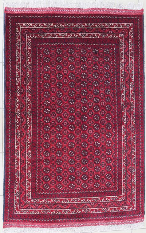 Multi color border Afghan rug
