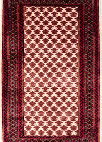 Hand Made Knotted Ter Rug With Geometric Design